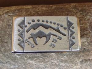 Southwestern Stamped Bear Money Clip! Nickel Silver