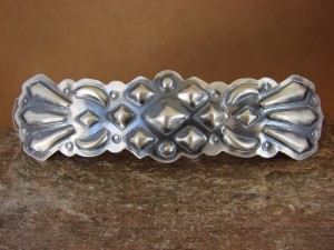 Native American Indian Jewelry Sterling Silver Hand Stamped Hair Barrette!