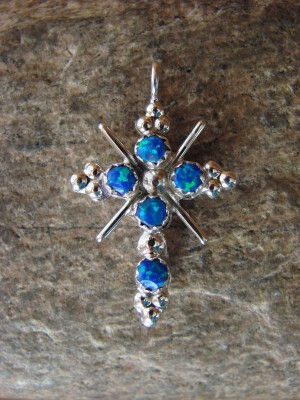 Zuni Indian Sterling Silver Opal & Coral Cross Pendant! Reversible