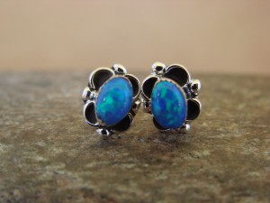 Native American Jewelry Sterling Silver Blue Opal Post Earrings! Navajo Indian