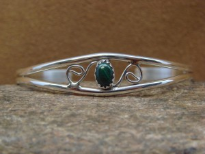 Navajo Indian Jewelry Sterling Silver Malachite Bracelet by J. Lincoln