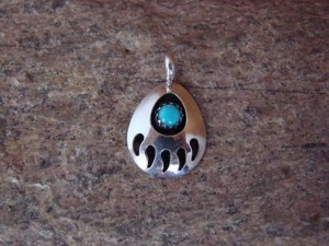 Mini SMALL Navajo Indian Jewelry Sterling Silver Turquoise Bear Paw Pendant!