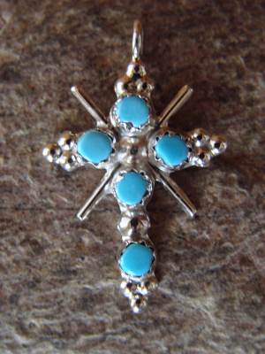 Native American Zuni Indian Sterling Silver Turquoise Cross Pendant!