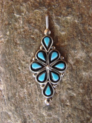 Zuni Indian Jewelry Sterling Silver Turquoise Pendant by Bryant Pablito