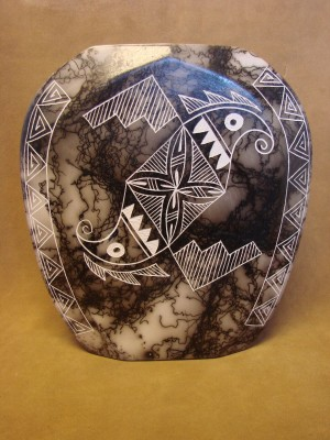 Native American Indian Pottery Horse Hair Vase by Gary Yellow Corn Louis! Acoma