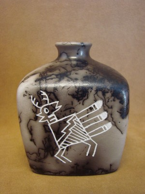 Native American Indian Pottery Horse Hair Square Jar by Gary Yellow Corn Louis! Acoma