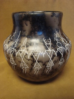 Native American Pottery Hand Etched Yei Pot by Gary Yellow Corn! Acoma Pueblo