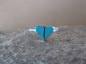 Native American Jewelry Sterling Silver Turquoise Heart Ring, Size 1.5