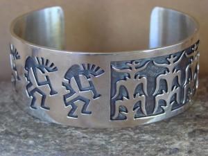 Native American Jewelry Sterling Silver Kokopelli Corn Bracelet by Sharon Cisco