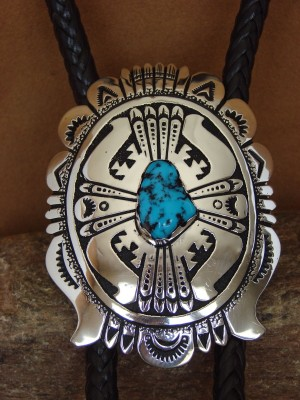 Native American Sterling Silver Turquoise Bolo Tie by Richard Singer