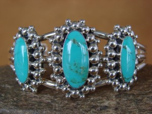 Native American Indian Jewelry Sterling Silver Turquoise Bracelet by Tom Lewis