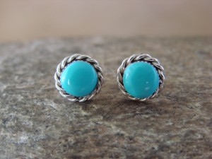 Small Native American Indian Jewelry Sterling Silver Turquoise Post Earrings!