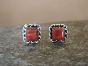 Native American Sterling Silver Square Spiny Oyster Post Earrings Zuni