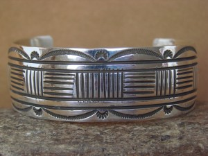 Native American Indian Jewelry Sterling Silver Bracelet by Rick Enriquez