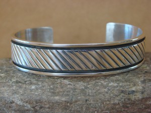 Native American Jewelry Hand Stamped Sterling Silver Bracelet by Tahe