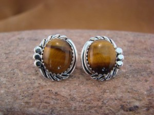 Native American Sterling Silver Tiger Eye Post Earrings by Delores Cadman