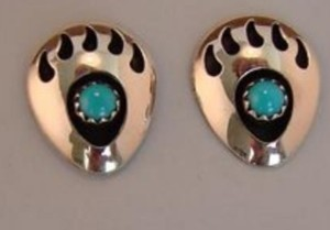 Navajo Indian Jewelry Sterling Silver Turquoise Bear Paw Post Earrings!