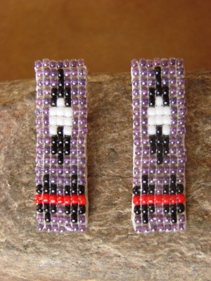 Navajo Indian Sterling Silver Hand Beaded Post Earrings by Lucille Ramone