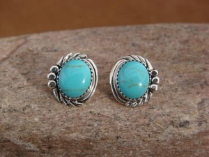 Native American Sterling Silver Turquoise Post Earrings by Delores Cadman Navajo