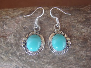 Native American Sterling Silver Turquoise Dangle Earrings by Delores Cadman