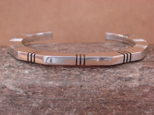 Navajo Indian Jewelry Handmade Sterling Silver Bracelet by Running Bear