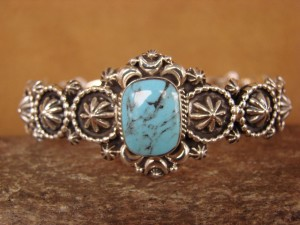 Navajo Indian Jewelry Sterling Silver Turquoise Bracelet by Running Bear