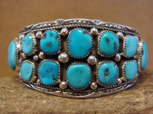 Native American Sterling Silver Turquoise Cluster Bracelet by Marie Thompson!