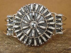 Navajo Indian Jewelry Sterling Silver Howlite Cluster Bracelet!