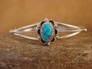 Navajo Indian Jewelry Sterling Silver Turquoise Bracelet by Lenore Begay.