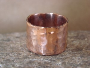 Navajo Indian Jewelry Copper Hammered Ring by Douglas Etsitty, Size 13