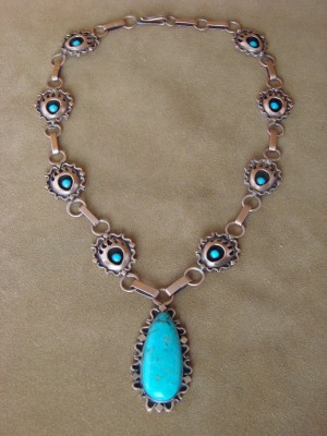 Navajo Indian Jewelry Copper Turquoise Bear Paw Necklace