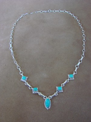 Native American Jewelry Turquoise Sterling Silver Necklace by Marie Jones