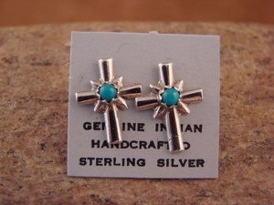 Native American Sterling Silver Turquoise Cross Post Earrings! Zuni Indian