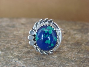 Navajo Indian Jewelry Sterling Silver Azurite Ring Size 7.5 by Cadman