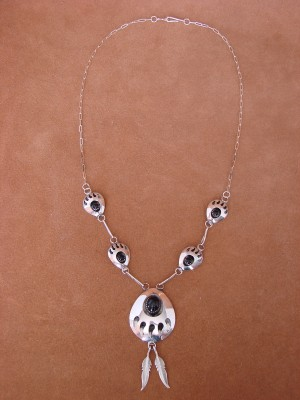 Navajo Indian Sterling Silver Onyx Bear Paw Necklace by Janic White!