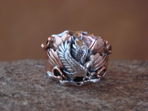 Navajo Indian Sterling Silver & Copper Handmade Eagle Ring, Size 7!
