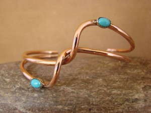 Navajo Indian Jewelry Handmade Copper Turquoise Bracelet bySkeets!