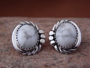 Native American Sterling Silver White Howelite Post Earrings by Delores Cadman