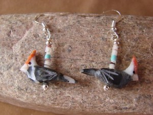 Southwestern Hand Carved Marble Bird Fetish Earrings by Matt Mitchell!