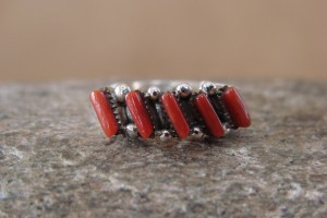Zuni Indian Jewelry Sterling Silver Handmade Coral Ring, Size 7.5
