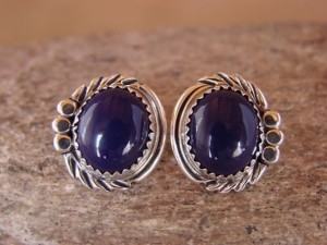 Native American Sterling Silver Lapis Post Earrings by Delores Cadman