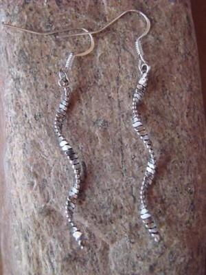 Navajo Indian Sterling Silver Swirl Earrings by Tsosie! Handmade