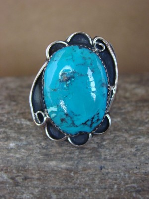 Navajo Indian Jewelry Nickel Silver Turquoise Ring Size 9, Glen Nez