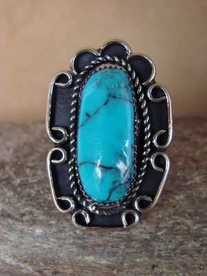 Navajo Indian Jewelry Nickel Silver Turquoise Ring Size 8.5, Glen Nez