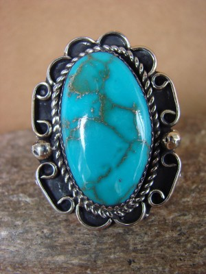 Navajo Indian Jewelry Nickel Silver Turquoise Ring Size 10, Glen Nez