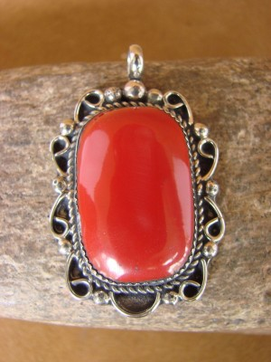 Native American Jewelry Nickel Silver Red Howlite Pendant by Jackie Cleveland