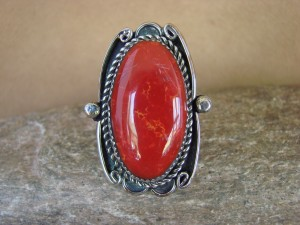 Navajo Indian Jewelry Nickel Silver Red Jasper Ring Size 10, Glen Nez