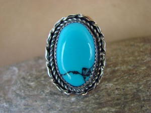 Navajo Indian Jewelry Nickel Silver Blue Turquoise Ring Size 9.5, Glen Nez