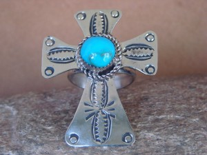 Navajo Indian Jewelry Nickel Silver Turquoise Cross Ring Size 10.5, Jackie Cleveland