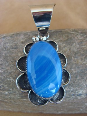 Native American Jewelry Nickel Silver Lapis Pendant Albert Cleveland